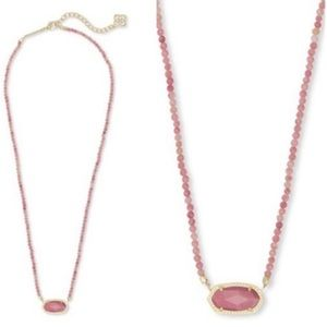 Kendra Scott Elisa Beaded Necklace Pink Rhodonite